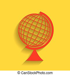 Earth Globe sign. Vector. Red icon with soft shadow on...
