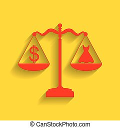 Dress and dollar symbol on scales. Vector. Red icon with soft shadow on golden background.