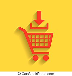 Add to Shopping cart sign. Vector. Red icon with soft shadow on golden background.