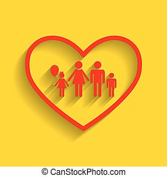 Family sign illustration in heart shape. Vector. Red icon...