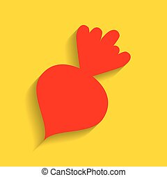 Beet simple sign. Vector. Red icon with soft shadow on...