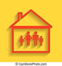 Family sign illustration. Vector. Red icon with soft shadow on golden background.