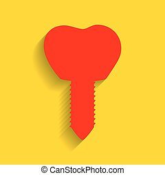 Tooth implant sign illustration. Vector. Red icon with soft shadow on golden background.