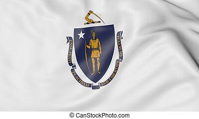 Waving flag of Massachusetts state. 3D rendering - Waving...