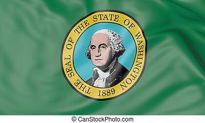 Waving flag of Washington state. 3D rendering - Waving flag...