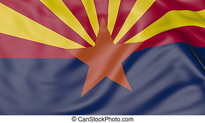 Waving flag of Arizona state. 3D rendering - Waving flag of...