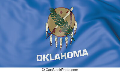 Waving flag of Oklahoma state. 3D rendering - Waving flag of...