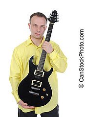 man with a black guitar - Young man with a black guitar...