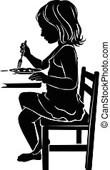 Silhouette girl eats - Silhouette of a little girl who eats...