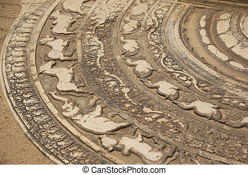 Moonstone, Anuradhapura, Sri Lanka - Image of a section of...