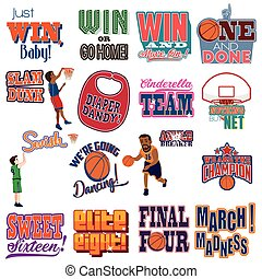 College Basketball Tournament Icons Cliparts - A vector...