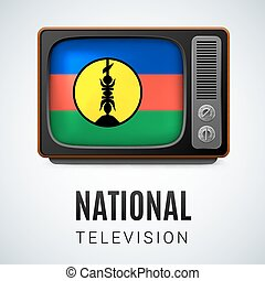 National television - Vintage TV and Flag of New Caledonia...