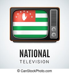 National television - Vintage TV and Flag of Abkhazian as...