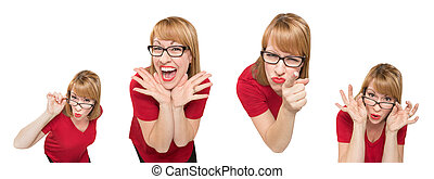 Set of Female Caucasian with Goofy Expressions Isolated on a White Background.
