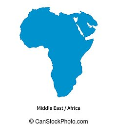 Detailed vector map of Middle East and Africa Region on...