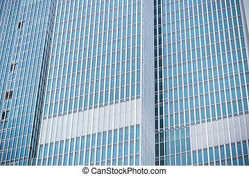 modern skyscraper closeup - detail of a modern skyscraper in...