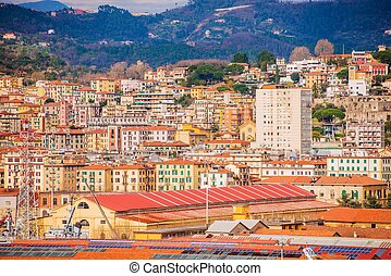 La Spezia Cityscape Photo. City of Las Spezia in Liguria...