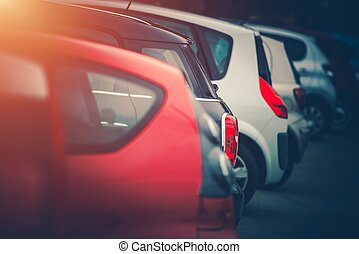 Full of Cars Car Parking Concept Photo. Row of Modern...