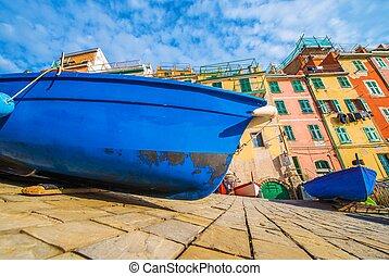 Mediterranean Sea Fishing - Fishing Boat in Riomaggiore, La...
