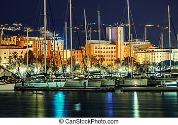 La Spezia Marina at Night, Liguria Province of Italy. Marina...