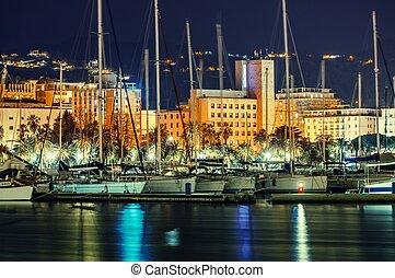 La Spezia Marina at Night, Liguria Province of Italy. Marina...