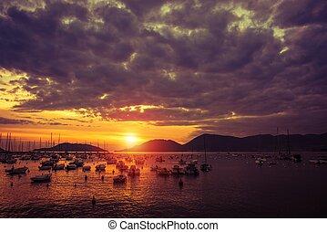 Lerici Italy Marina Sunset. Mediterranean Sea Italian...