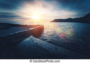 Mediterranean Sea Sunset. Vernazza in Province of La Spezia,...