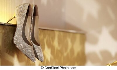 Beautiful women shoes and decoration light
