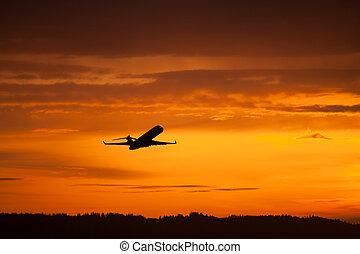 avião, decolagem, pôr do sol