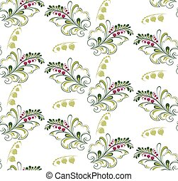 pattern with sprigs of currants - The illustration shows a...
