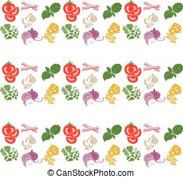Set products. Seamless pattern. Sliced vegetables. Ready-made ingredients. Parsley, basil, bacon, onion, garlic, cheese.