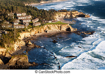 Coast landscape with Condominiums - Oregon Coast landscape...