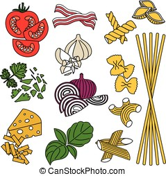 Set products. Seamless pattern. Pasta and vegetables. Ready-made ingredients. Parsley, basil, bacon, onion, garlic, cheese, pasta.