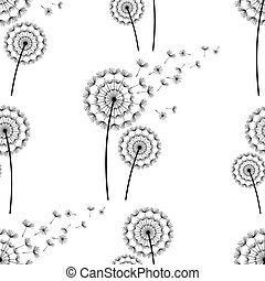 Seamless pattern background with dandelions fluff -...