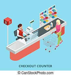 Isometric Checkout counter. Woman paying with a credit card...
