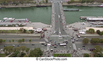 Paris aerial view of Seine river and Jena bridge in Paris,...