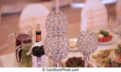Beautiful glasses on table at the party