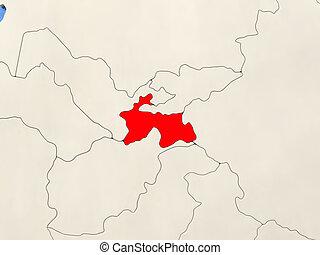 Tajikistan on map - Tajikistan in red on political map with...