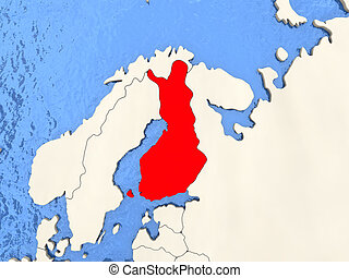 Finland on map - Finland in red on political map with watery...