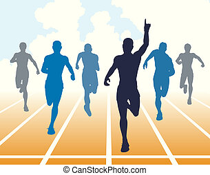 Sprint - Editable vector illustration of men finishing a...