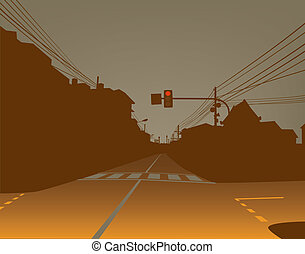Street - Editable vector design of red traffic light over a...