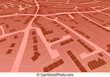 Streetmap perspective - Angled view of an editable vector...