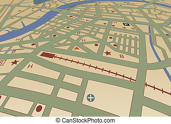 Streetmap - Editable vector streetmap of a generic city with...