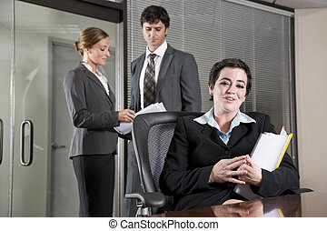 Three office workers meeting in boardroom
