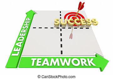 Leadership Teamwork Goals Achieved Success Matrix 3d...