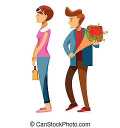 cartoon character,Couple of lovers on a date, young man back...