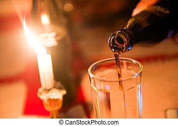 romantic candlelight dinner in restaurant , dinner