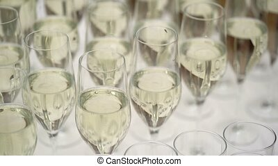 Chamagne in glasses on table