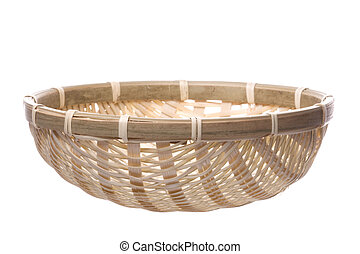 Traditional Straw Weaved Basket Isolated - Isolated image of...