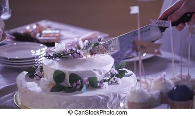 White party cake cutting with knife shot